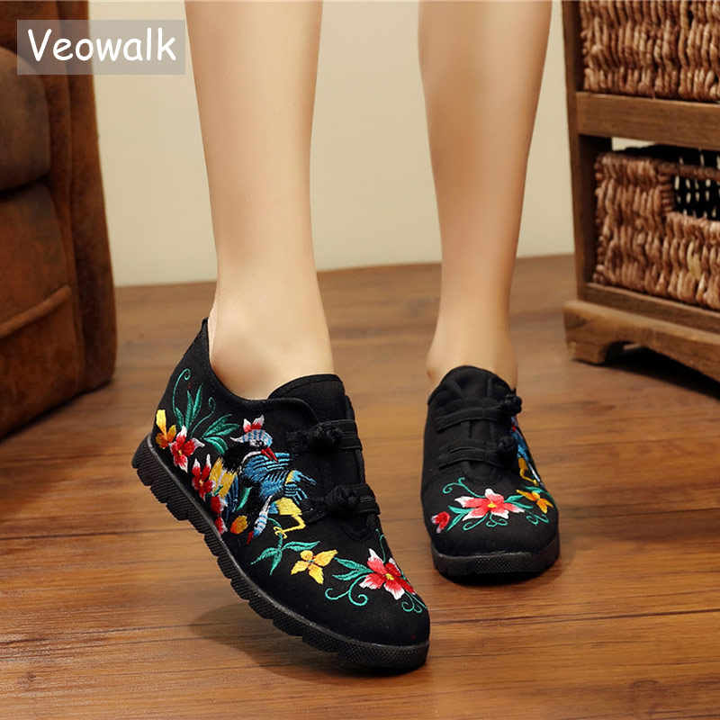 Veowalk Retro Embroidered Women Handmade Canvas Flat Platforms Double Hooks  Casual Denim Cotton Embroidery Shoes for 0ab8d3efae9f