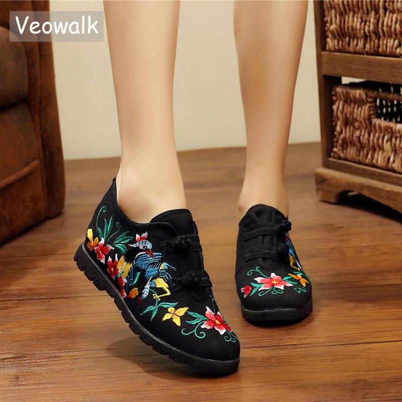 Veowalk Retro Embroidered Women Handmade Canvas Flat Platforms Double Hooks Casual Denim C