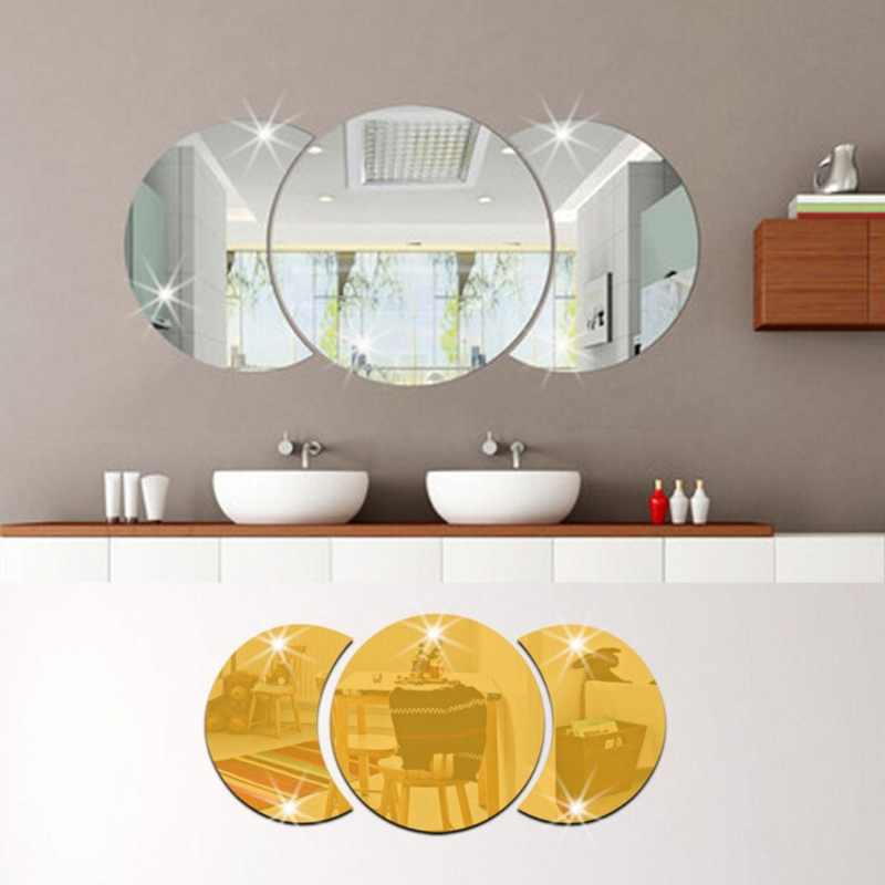 OOTDTY 1 Set 3PCS DIY Home Decoration Modern 3D Mirror Wall Sticker Art Acrylic Mural Decal Easily Removable colorful diy 3d butterfly wall sticker mirror art decal pvc paper for home showcase 12pcs