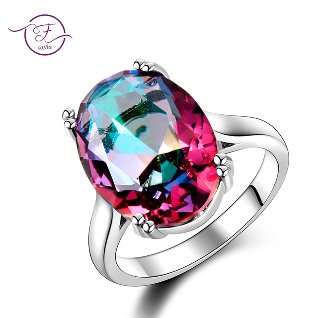 Fashion Women's Jewelry S925 Silver Ring Mystic Fire Rainbow Topaz Rings Promoti