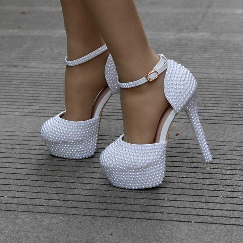 Reine Plate Mode Gentlewomen Heels Perle De Dame Nouvelle Robe Mariage À Femmes Cristal Talons Des Chaussures Blanc Mariée Sandales Hauts 14cm forme d7gwd4