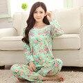 Pijamas de maternidad de las mujeres embarazadas de manga larga de ocio en casa de dibujos animados lindo cómodo pantalones de encaje de maternidad ropa de dormir delgada