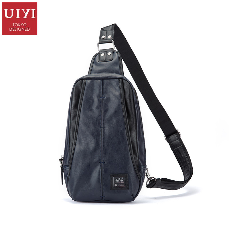 UIYI Brand Men Crossbody Messenger Shoulder Bag Blue Waterproof PVC Leather Casual Versatile Satchel Sling Bag Women 170045 uiyi original design men handbag pu leather satchel messenger crossbody bag small casual business shoulder sling bags 160108