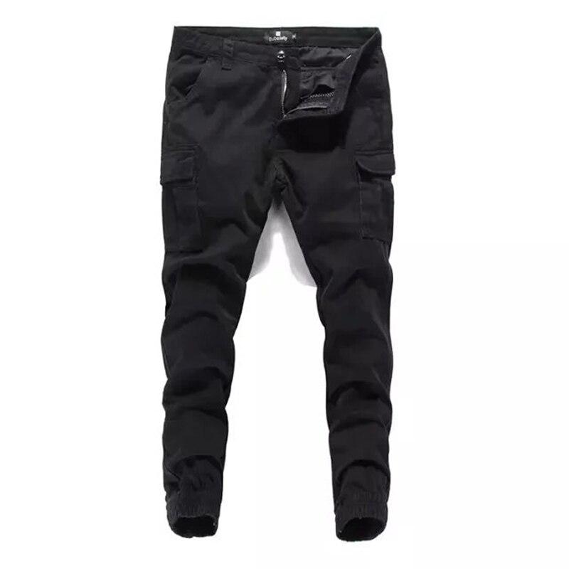 High Grade Men`s Black   Jeans   Jogger Pants Famous Brand Clothing Casual Ankle-Length Trousers Denim Pockets Tied   Jeans   Men A240