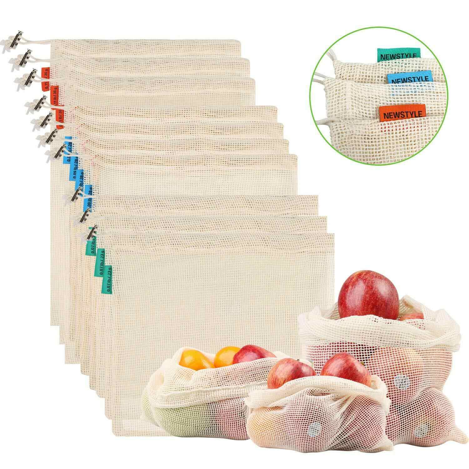 1 pcs Reusable Produce Bags Cotton Vegetable Bags Mesh Bags With Drawstring Home Kitchen Fruit And Vegetable Storage ecologico
