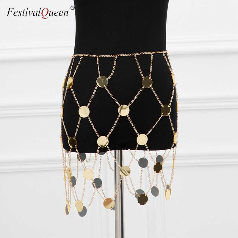 ... FestivalQueen exotic acrylic sequin women s metal chain skirt 2018  summer patchwork hollow out club female sparkly ... 566c0106f7cf