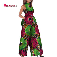 2017 African Print Women Jumpsuit O Neck Sleeveless Autumn Sexy Romper Wide Leg Pants African Ladies