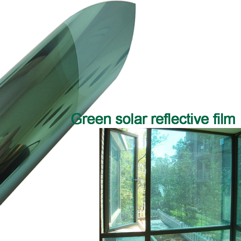 One Way Mirror Green Silver Sun Control Window Tint Film
