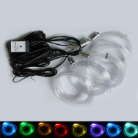 6 M RGB Fiber Optic Atmosphere Lamps Car Interior Ambient Light Decorative Dashboard Door Remote Control or App Control