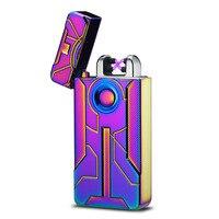 10pcs/lot DAE Fingerprint Touch Carving Arc Double Fire USB Charging Lighter Plasma Electronic Cigarette Pulse Lighters Gift Box