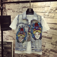 Spring Summer Fashion Cartoon Embroidery Personality Denim Jacket Women S National Wind Facebook Jeans Vest Coat