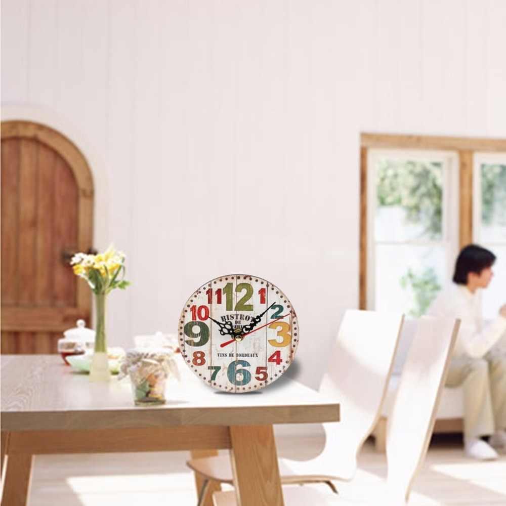 العملي الفني الإبداعية الأوروبية نمط جولة الملونة ريفي الزخرفية العتيقة خشبية المنزل ساعة حائط