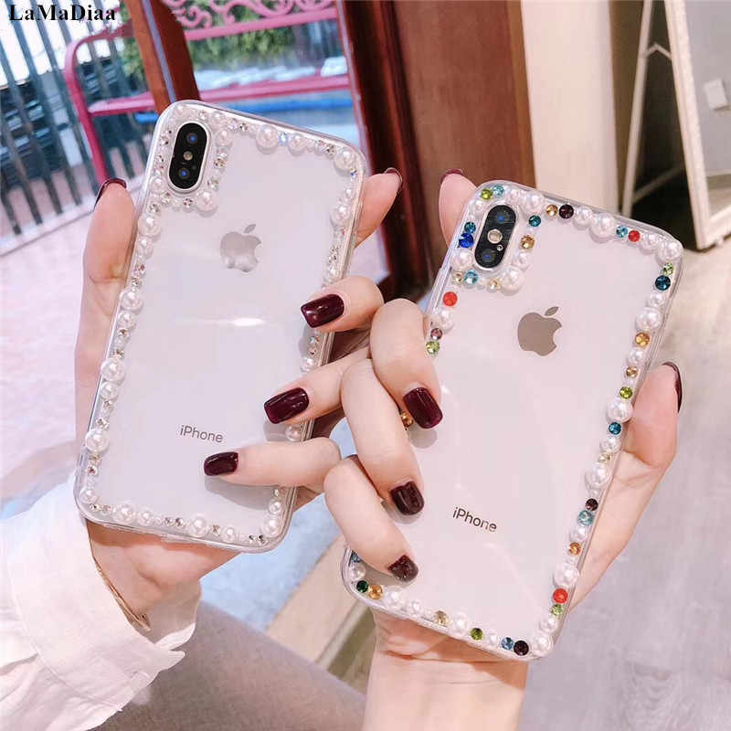 LaMaDiaa for iPhone 5 SE 5S 6 6s 7 8 plus 6plus 7/8plus X XS max XR Crystal Heart Diamond pearl glitter soft phone case cover