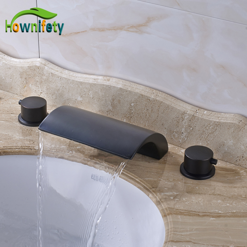Oil Rubbed Bronze Widespread 3pcs Bathroom Sink Faucet Double Handles Waterfall Spout Mixer Tap стоимость
