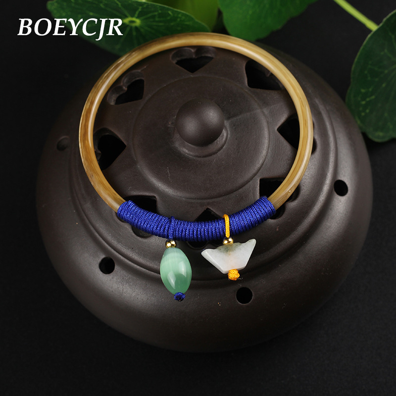 BOEYCJR 4 Style Available Tibetan Horn Bangles & Bracelets Vintage Ethnic Fashion Jewelry Braided Rope Bangle For Women Gift