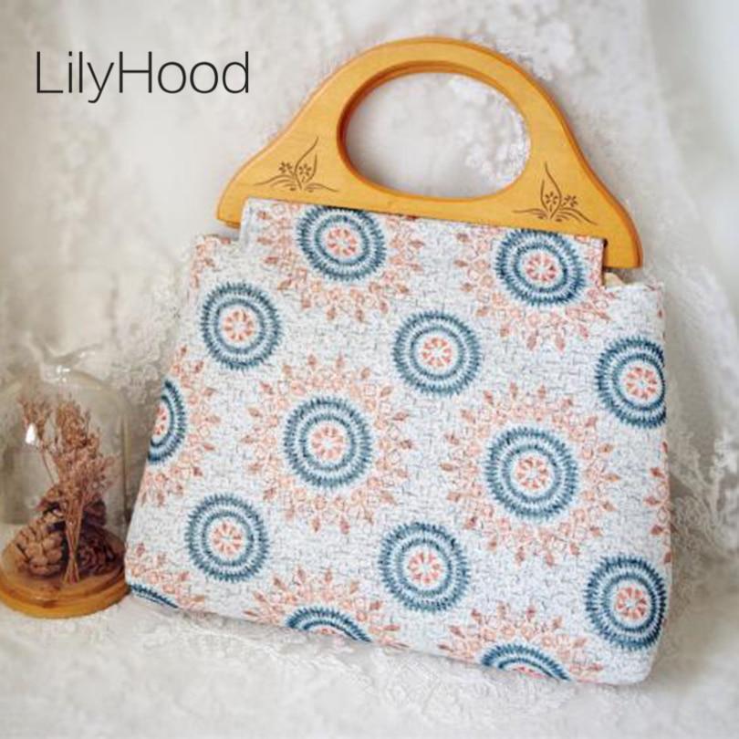 LilyHood Handmade Female Cotton Printing Summer Top-Handle Tote Bags Retro Ibiza Gypsy Bohemian Boho Chic Fabric Shoulder Bag меня зовут лю юэцзинь