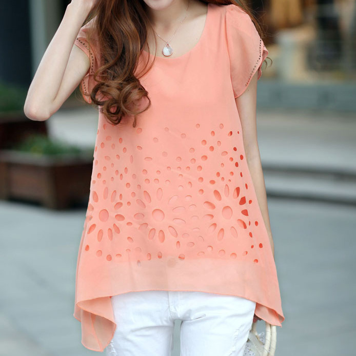 9.9 summer o-neck plus size cool chiffon shirt short-sleeve top female summer basic shirt