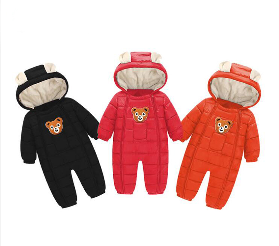 Baby Girls Boys Snowsuit Down Cotton Baby Rompers Hoodies baby Overalls Clothes Kid Children Jumpsuit 2018 autumn r Warm 2018 new baby rompers baby boys girls clothes turn down collar baby clothes jumpsuit long sleeve infant product solid color