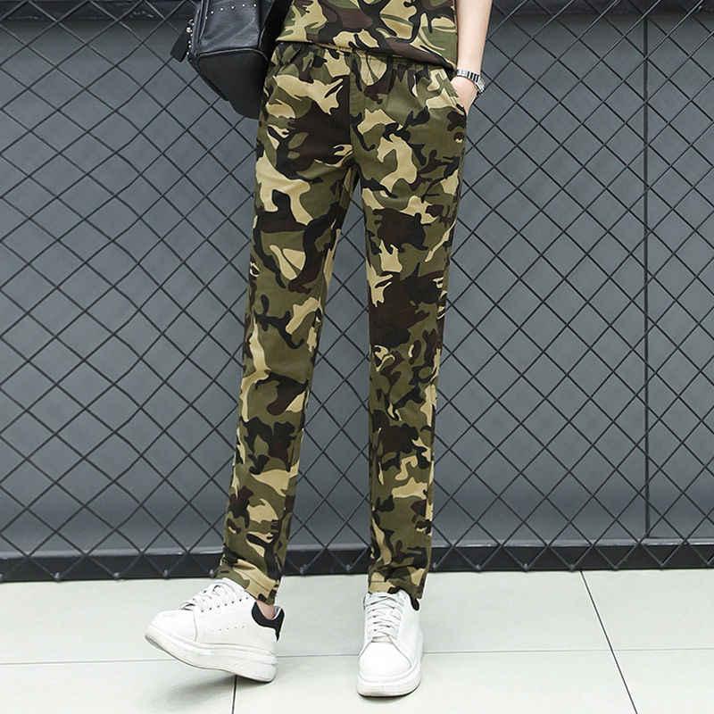 2019 Mulheres Primavera Treino Uniforme Militar de Camuflagem Calças Cargo Combate Denim Macacões Senhoras Calças Retas Multi-bolso