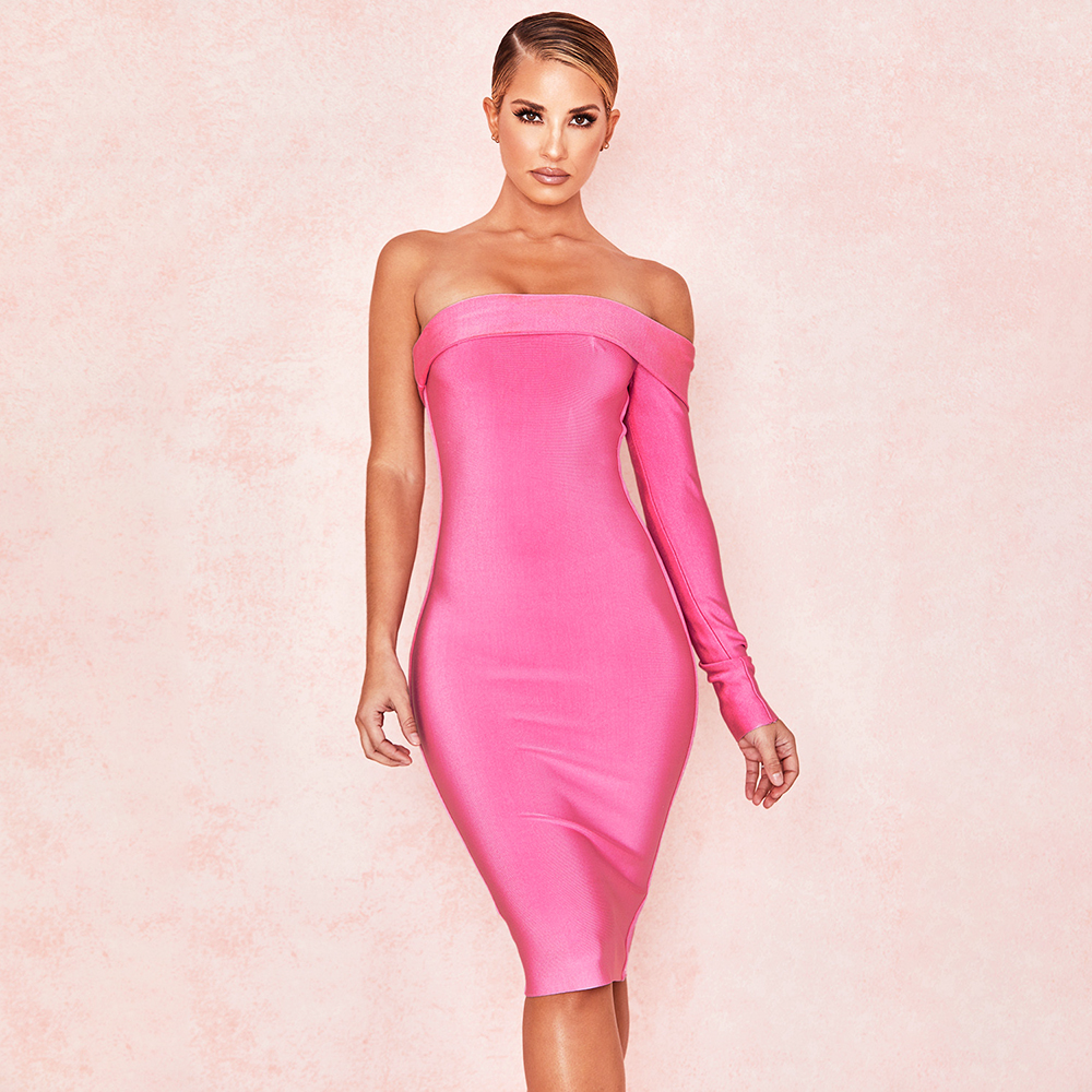 Sexy Sweet Rose Pink Strapless Bandage Bodycon Dress One Sleeve Full Length Party Club Dress