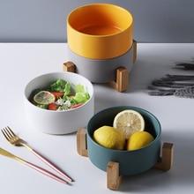 Oneisall Ceramic Salad Bowl Nordic style Matte Glazed Ceramic Bamboo Dish Rack Simple Solid Color Soup Salad Rice Fruit Bowl plain color glazed ceramic outdoor garden stool