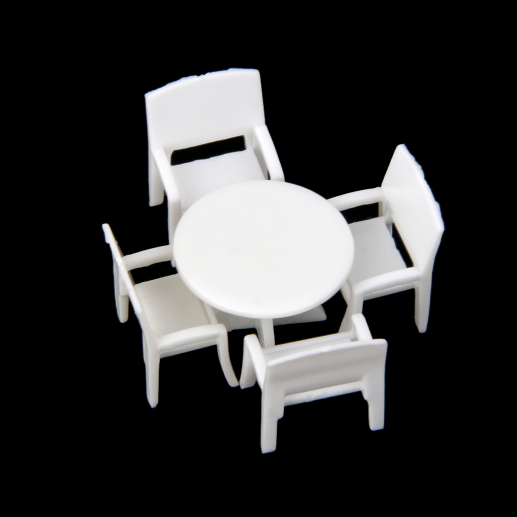 5pcs Dollhouse Miniature Model Set Round Dining Table with 4 Chairs 1:100 Classsic Furni ...