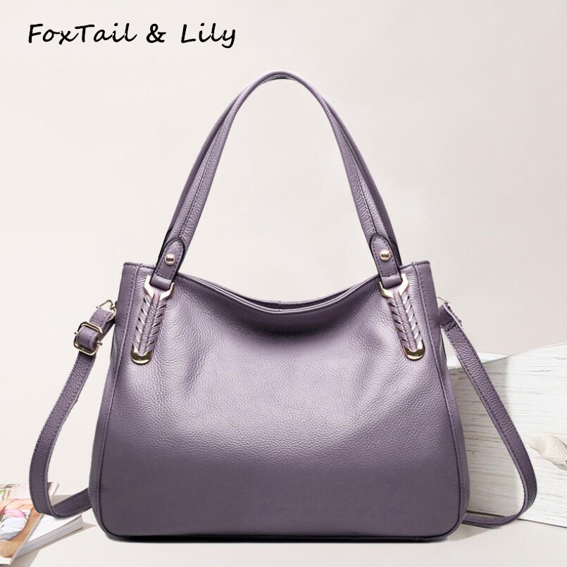 FoxTail & Lily Knitting Bag Women Real Leather Tote Shoulder Bags Designer Handbags High Quality Genuine Leather Crossbody Bag foxtail