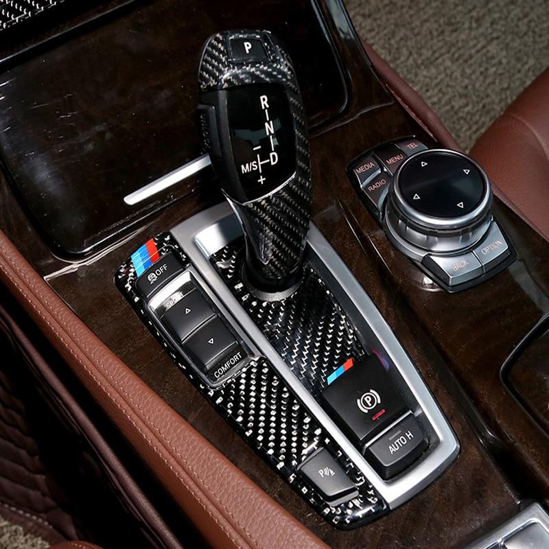 Carbon Fiber Gear Shift Box Cover Trim interior Stall Frame Stickers for BMW 5 7 series X3 X4 F10 F07 F25 F26 Auto Accessories mt foot pedal rest for bmw f10 f12 f07 f25 f06 f01 x3 5 gt 6 7 series m5 m6 smg