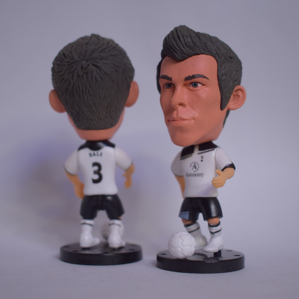 Soccerwe Cartoon League Soccer Star Dolls Spurs# 3# Gareth Bale Figurines Movable Bases Doll Accessories Ball