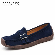 dobeyping New Spring Autumn Woman Shoes Genuine Leather Women Flats Casual Women's Loafers Buckle Female Shoe Low Heel Footwear spring autumn shoes woman pumps platform shoe womens casual tassel shoes 2018 new punk black footwear high heel shoe