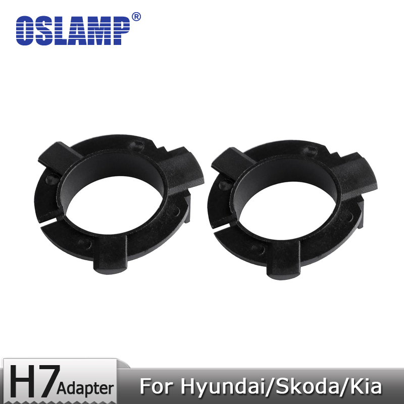 Oslamp For Hyundai/Skoda/Kia/Nissan H7 Led Headlight Bulbs Black Plastic Adapter Holders 1 Pair Fixed Adapter Base for H7 Lamps fsylx led h7 bulb holder adapter for hyundai veloster i30 h7 led headlight headlamp h7 base adapter for kia k4 k5 sorento ceed