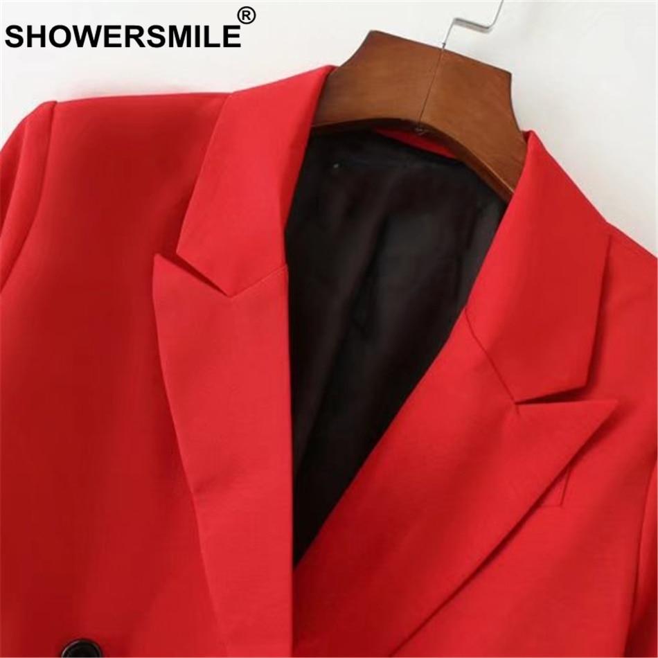 SHOWERSMILE Red Blazer Women Long Sleeve Loose Double Breasted Blazer Coat Female Ladies Collared Spring Jacket Coat Outwear