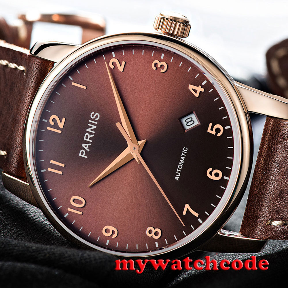 38mm Parnis coffee dial rose golden case Sapphire glass Automatic Mens watch 824 image