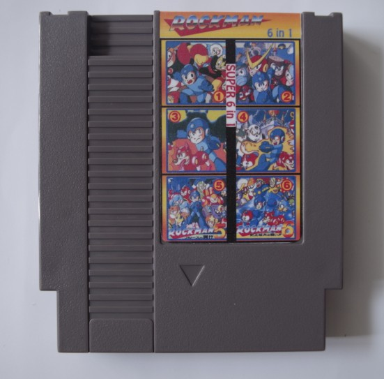 Top quality 72Pin Game card 8 bit Game cartridge Super 6 in 1 with Rockman 1 2 3 4 5 6 Drop Shipping!