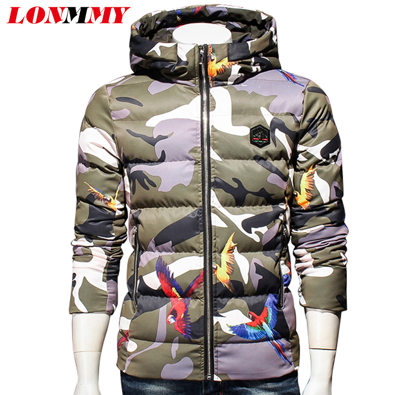 LONMMY 5XL Camouflage jackets mens Hooded parka men thicken Coats male Causal Outerwear Streetwear Green Gray New 2017 Winter