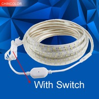 CHINCOLOR Led Strip Waterproof 220V 5050 Light With ON OFF Switch 1M 25M EU Plug 6