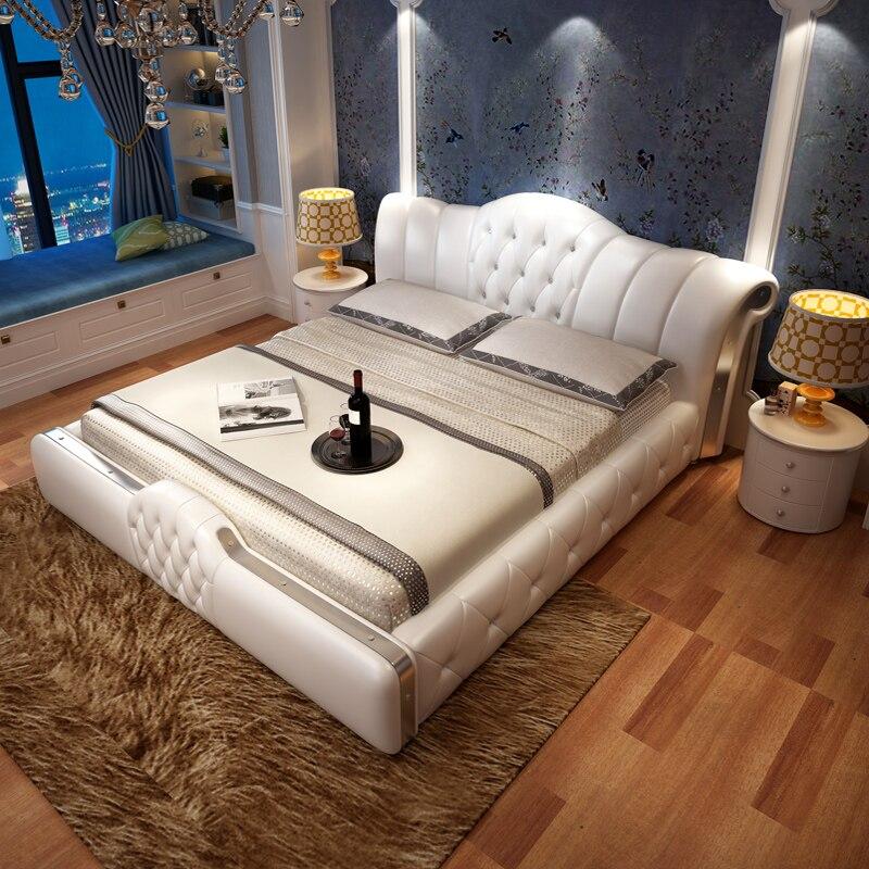 Diplomatisch Europese Lederen Bruiloft Master Bed Luxe Massief Houten Bed Eenvoudige Prinses Bed 2 M 2.2 Dubbele Bed