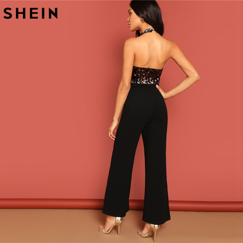 SHEIN Halter Neck Sequin Bodice Plunging Jumpsuit Deep V Sexy Backless Plain Sleeveless Women Summer Maxi Skinny Jumpsuit 2