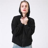 Hoodies Mulheres outono Inverno Preto Com Capuz Bolso Com Zíper Breve Básica Moletons Casacos Casual Feminino Coreano Pullover Plus Size