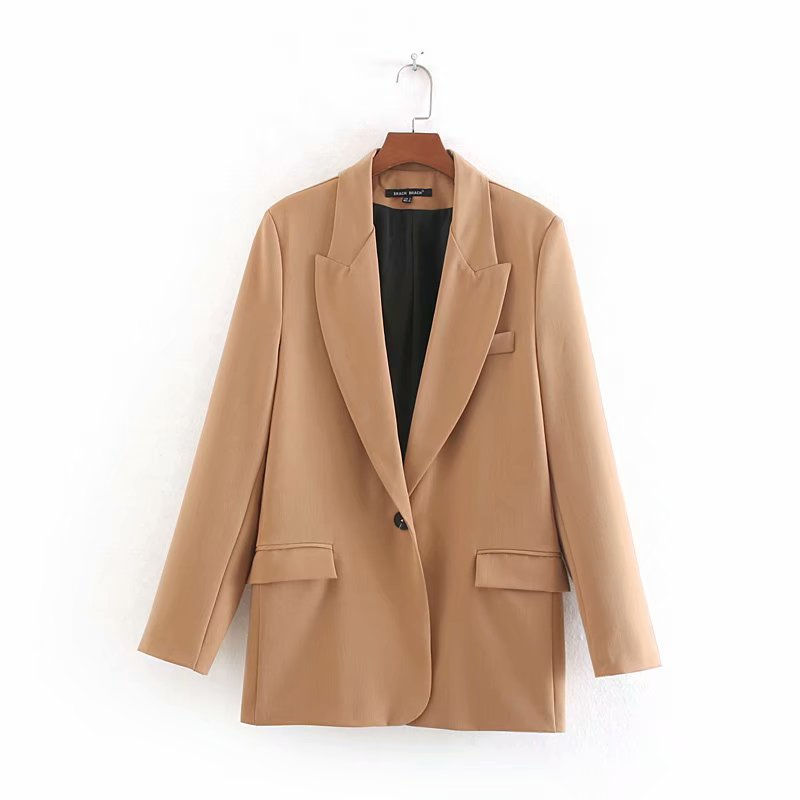 Women Elegant Single Button Pockets Blazer Long Sleeve Female Casual Coat Office Wear Outerwear Solid Color Chic Suit Tops CT244