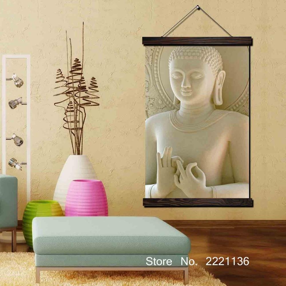 White Status Buddha Framed Scroll Painting HD Wall Art Hanging ...
