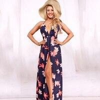 Navy Blue Floral Print Side Split Long Dress Women 2017 Hollow Out Backless Summer Dresses Vestidos