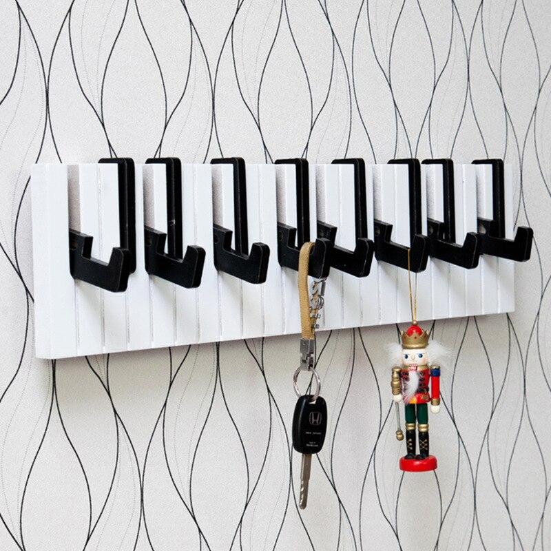 Creative Piano Design Wooden Wall Shelf With Hook Over Door Storage Rack Organizer For Clothes Hat Bag Key Holder Home Decor Bathroom Hardware Towel Racks