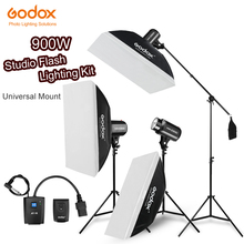 900Ws Godox Strobe Studio Flash Light Kit 900W   Photographic Lighting   Strobes, Light Stands, Triggers, Soft Box,Boom Arm