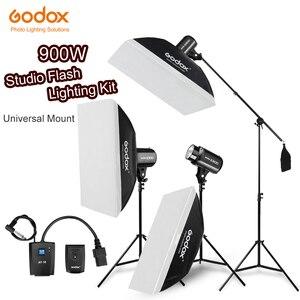 Image 1 - 900Ws Godox Strobe lampy błyskowej Studio zestaw 900 W oświetlenie fotograficzne Strobes, światła oznacza, wyzwalaczy, miękki pojemnik, ramię wysięgnika