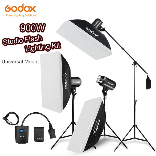900Ws Godox Strobe lampy błyskowej Studio zestaw 900 W oświetlenie fotograficzne Strobes, światła oznacza, wyzwalaczy, miękki pojemnik, ramię wysięgnika