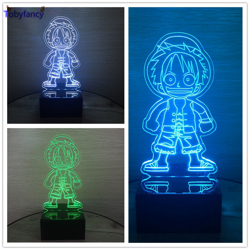 Tobyfancy 7 Color Changing 3D Bulbing Light One Piece Luffy Visual Illusion Arylic Table USB LED Lamp Creative Gifts