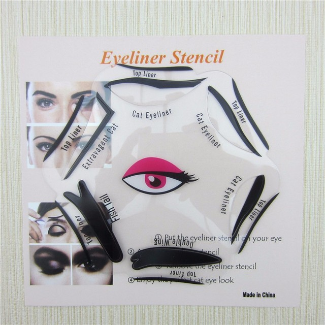 RORASA 1pcs 6 in 1 Stencils Eyeliner Template Smoky Makeup Guide Cat Eye Natural Liner Quick Eyeliner stencil Tool Cosmetic tool 4