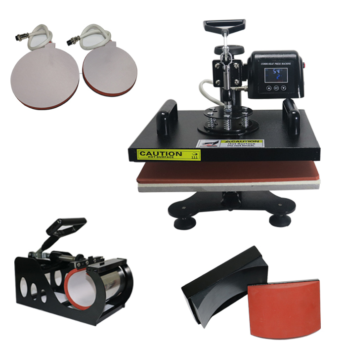 ToAuto 5in1 Multifunction Combo Heat Press Transfer Sublimation Digital Mug Hat Plate Cap T-Shirt Decorating Firing Machine wtsfwf 30 38cm 8 in 1 combo heat press printer machine 2d thermal transfer printer for cap mug plate t shirts printing