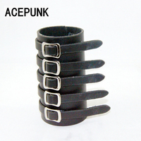 Năm Vành Đai Da Wide Cuff Bangles Bracelet Điều Chỉnh Men Big Vòng Tay Rộng Cho Phụ Nữ Khóa Vintage Punk Đồ Trang Sức Đeo Tay